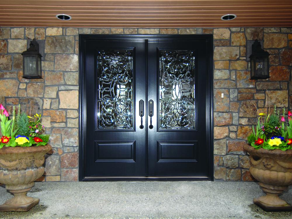 Dark brown double front doors