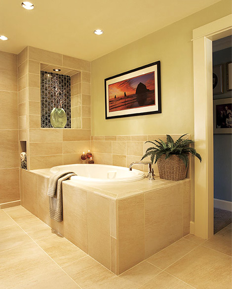 Cream and beige bathroom with large tub