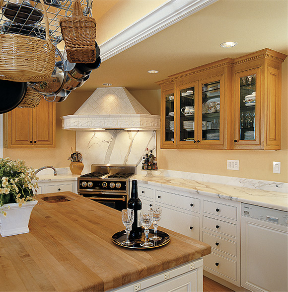 Wood top island in kitchen