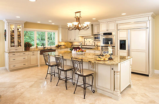 Large white and cream kitchen with center island